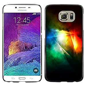 Omega Covers - Snap on Hard Back Case Cover Shell FOR Samsung Galaxy S6 - Dark Light Rainbow Color Lines Abstract