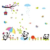AWAKINK Lovely Panda Birds flowers and Bamboo Wall Stickers Removable Wall Vinly Decal Decor for Girls and Boys Nursery Room Children's Bedroom (Color: Red, Blue, Yellow, Green, Orange, Black)