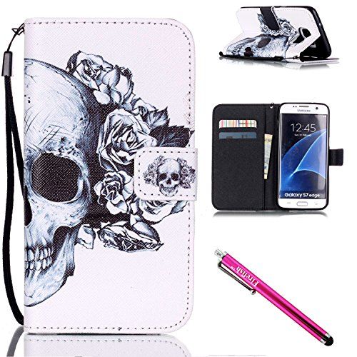 Galaxy S7 edge Case, Firefish Stand Flip Folio Wallet Cover Shock Resistance Protective Shell with Cards Slots Magnetic Closure for Samsung Galaxy S7 edge-Skull (Sensor Case For Nike compare prices)
