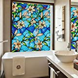 Coavas Orchid Decorative Stained Glass Windows Films, Self Static Adhesive Cling(17.7-Inch by 78.7-Inch)