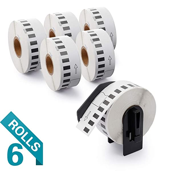AirmallCompatibleLabelsReplacementforBrother DK-2210 Continuous Labels, Replacement Labels-1-1/7 x 100' for use in QL-500 700 710W 820 NWB Printer (6 Rolls,100'/ Roll) (Color: White, Tamaño: 1-1/7 x 100')