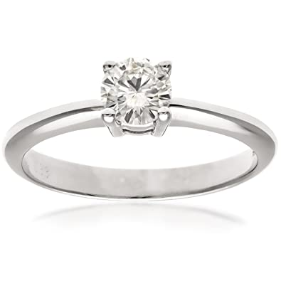 Naava 18ct 4 Claw Engagement Ring, F/VS2 EGL Certified Diamond, Round Brilliant, 0.40ct