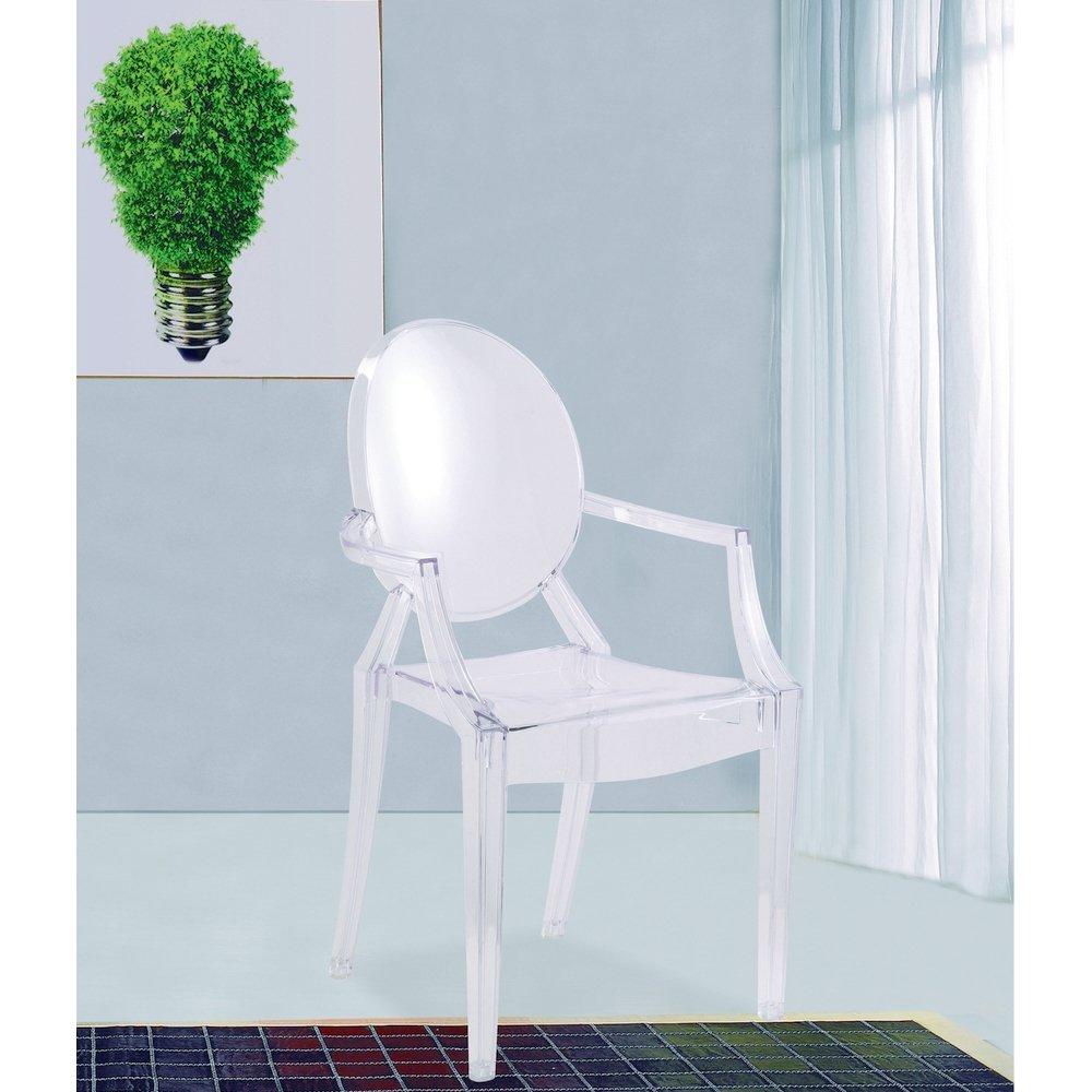 Modern Louis XIV Arm Chair in Clear Silver Set of 2 – Clear Arm Chair