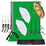 Andoer Photo Studio Lighting Kit 3pcs 45W Light Bulb with Muslin Backdrop(White & Green & Black), 200cm Stand kit, 32in Softbox Set for Video Studio S