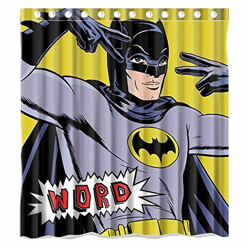Custom Batman Word Waterproof Polyester Fabric Bathroom Shower Curtain Standard Size 66(w)x72(h)