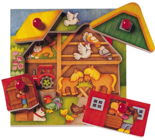Picture of Selecta Selecta Farm Look-Inside Peg Puzzle MADE IN GERMANY (B00000ISY1) (Pegged Puzzles)