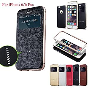 Joyroom 3 in one Metal Bumper Leather Flip Cover Back Cover case for iPhone 6 4.7 Inches Black Gold