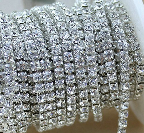 Learn More About 10 Yard Crystal Rhinestone Close Chain Clear Trim Sewing Craft 2mm Silver color