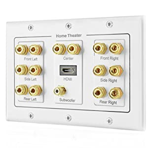 TNP Home Theater Speaker Wall Plate Outlet - 7.1 Surround Sound Audio Distribution Panel, Gold Plated Copper Banana Plug Binding Post Coupler, RCA LFE Jack for Subwoofer, HDMI Port UHD 4K HD (3-Gang) (Tamaño: 7.1 Surround + HDMI)