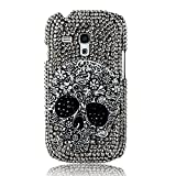 EVTECHTM 3D Handmade Crystal Skull Bead Rhinestone Diamond Bling Cover Hard Black Case for Samsung Galaxy S3 Mini 8190Not For SAMSUNG S3 100 Handcrafted