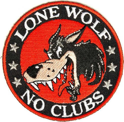 Lone Wolf No Clubs Patch, 3 inch, small embroidered biker patch, iron on or sew