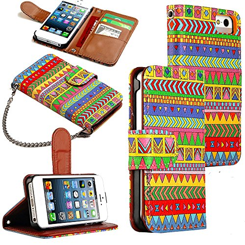 Mylife (Tm) Chimera Dream - Aztec Design - Textured Koskin Faux Leather (Card And Id Holder + Magnetic Detachable Closing) Slim Wallet For Iphone 5/5S (5G) 5Th Generation Itouch Smartphone By Apple (External Rugged Synthetic Leather With Magnetic Clip + I