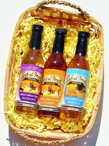 Beverage Coffee Syrup Gift Set with Vanilla, Carmel & Hazelnut in Gift Basket - Mixed Set of Regular & Sugar Free