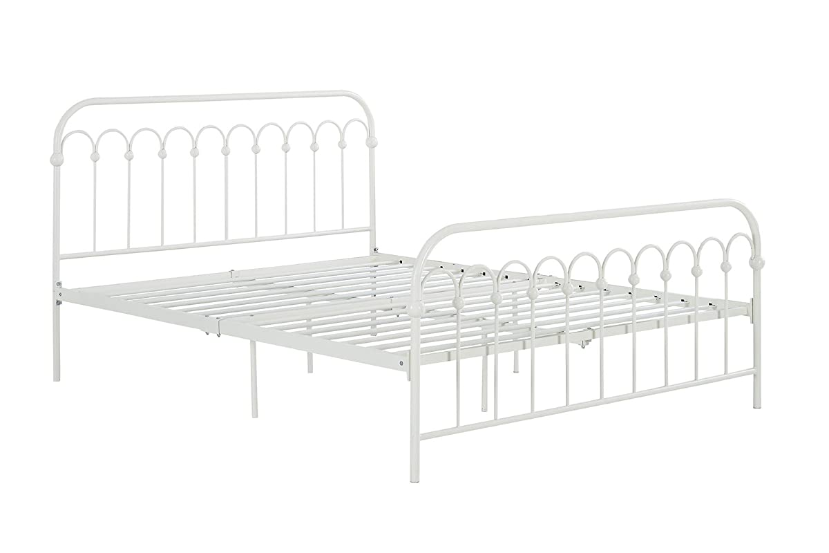 "Novogratz Bright Pop Metal Bed, Adjustable Height for Underbed Storage (6.5"" or 11""), Metal Slats Included, Full, White"