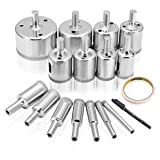 DRILLPRO Diamond Hole Saw, 15 Pcs Tile Hole Saw Drill Bit, Hole Remover Tools for Glass, Porcelain, Ceramic, Granite Stone Drill Bits 6-50mm (Color: Silver, Tamaño: 6/8/10/12/14/16/18/20/22/25/26/28/30/40/ 50mm)