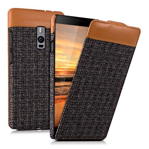 kalibri-Flip-Case-Hlle-Emma-fr-OnePlus-2-Aufklappbare-Stoff-und-Echtleder-Schutzhlle-Tasche-im-Flip-Cover-Style-in-Braun-Anthrazit