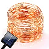 Solar String Lights, Oak Leaf 120 LEDs Outdoor Solar Powered LED String Lights Waterproof Copper Wire Lights for Christmas Garden Home Party 800mA Capacity,19ft