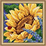 "Dimensions Crafts Jiffy Sunflower And Ladybug Mini Needlepoint Kit 5""X5"" Stitched In Thread 17066"