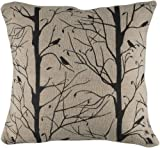 Rizzy Home T-3956 Decorative Pillows, 18 by 18-Inch, Natural/Black, Set of 2