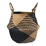 Natural Seagrass Belly Basket with Handles, Large Storage Laundry Basket