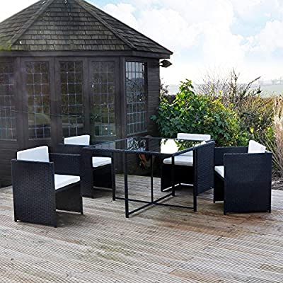 Kingfisher Rattan Effect Cube Table And Chairs Garden Set