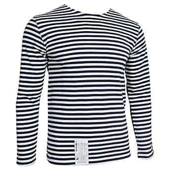 Genuine russian navy telnyashka top blue for Navy blue striped long sleeve shirt