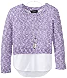 Amy Byer Big Girls Sweater with Shirt Hem and Necklace, Purple, Medium