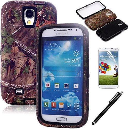 Galaxy S4 Case - EC Real Tree Camo Design Case - Luxury 3 in 1 Hybrid High Impact Soft TPU Hard PC Case Cover for Samsung Galaxy S4 i9500ATT - Verizon - T-Mobile - Sprint - And All International Carriers with Screen Protector Stylus Camo-Black