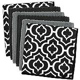 DII Lattice Cleaning, Washing, Drying, Ultra Absorbent, Microfiber Dishcloth, Set of 6, Black