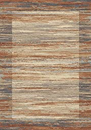 Area Rug, Multi-Colored/Spice Striped Stain Resistant Carpet, 5\' 3\