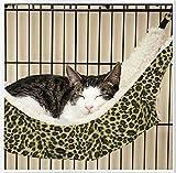 ペット用 あったか もこもこ ハンモック ベッド 猫 小型犬 小動物に!+収納用エコバッグ 2点セット (ヒョウ柄, L)