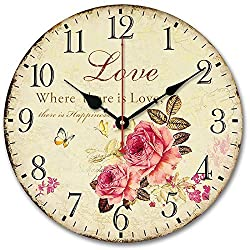Usmile 12 Vintage Sweet Rose sing for love style Wooden Wall Clocks Decorative wall clocks Retro wall clocks large wall clocks