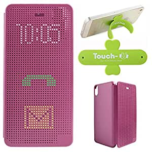 DMG Dot View Interactive Flip Cover Case for HTC Desire 626 626G+ (Purple) + Touch U Mobile Stand