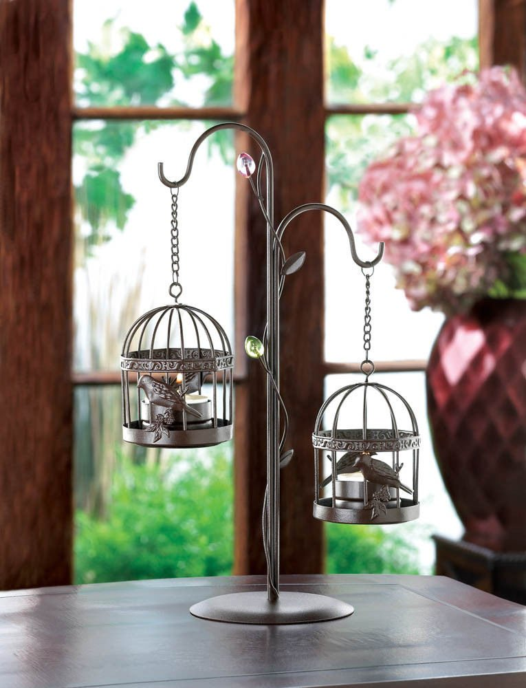 SMALL SHABBY HANGING CHIC BIRD CAGE CHANDELIER CANDLE HOLDER WEDDING CENTERPIECE