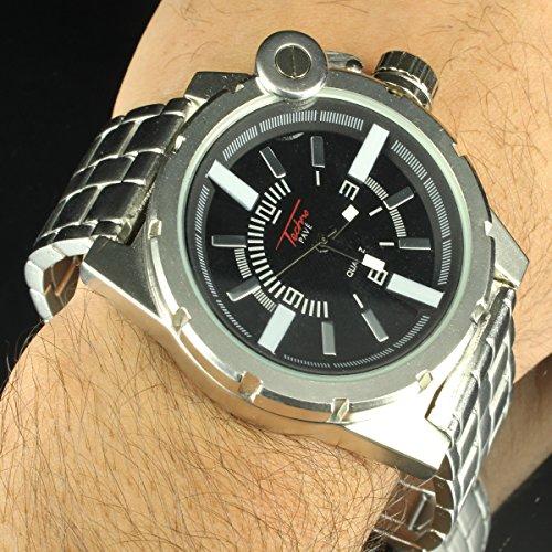 14K White Gold Finish Screw Design 2 Tone Techno Pave Watch Full Metal Custom