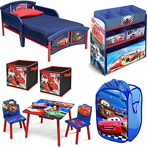 Disney-Delta-Children-Pixar-Cars-Lightning-McQueen-and-Mater-8-Piece-Furniture-Set-Plastic-Toddler-Bed-Table-and-Chair-Set-Multi-Bin-Toy-Organizer-2-Pack-Storage-Cube-and-Pop-Up-Hamper