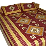 Red Bed Sheets Pillow Case Set Handmade Cotton Printed from India Queen Sizeby DakshCraft