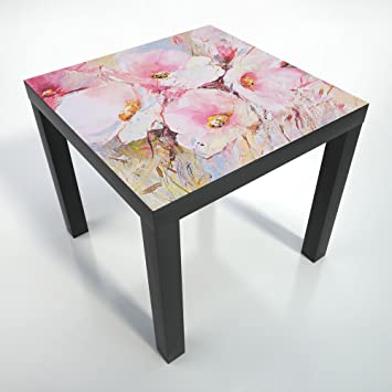 table basse pellicule de protection 55x55 cm table noire noire table basse fleurs. Black Bedroom Furniture Sets. Home Design Ideas