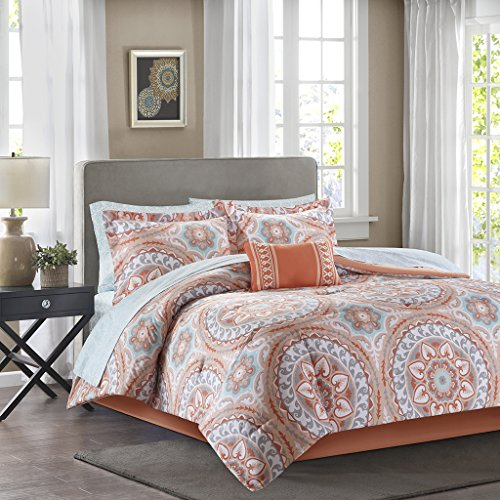 Madison Park MPE10-205 Essentials Serenity Complete Bed & Sheet Set Full Coral,Full (Coral Sheet Set compare prices)