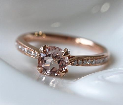 VogueGem VS Round Cut Fancy Morganite and diamond Ring Engagement Ring Wedding Ring Gemstone Engagement Ring