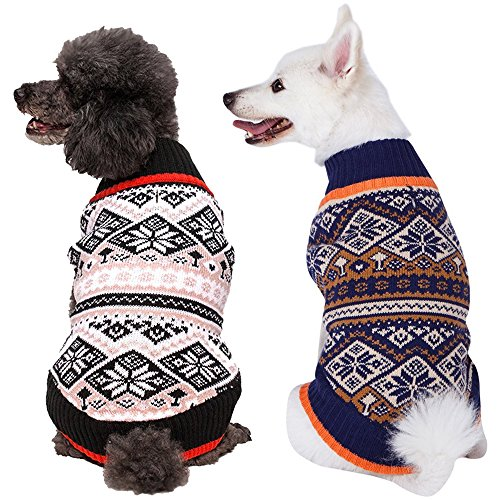 Blueberry Pet Nordic Pattern Inspired Fair Isle Navy Blue Snowflakes Dog Sweater