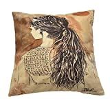 Monkeysell Newspaper Literary Women Face Cotton Linen Square Throw Pillow Case Decorative Cushion Cover Pillowcase Cushion Case for Sofa,Bed,Chair 18 X 18 Inch (S045B2)