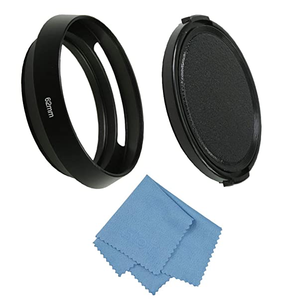 SIOTI Camera Standard Hollow Vented Metal Lens Hood with Cleaning Cloth and Lens Cap Compatible with Leica/Fuji/Nikon/Canon/Samsung Standard Thread Lens (Color: Standard Vented, Tamaño: 62mm)