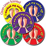 Primary Teaching Services Ltd X33 - 35 I Worked My Socks Off 37mm Clean Linen Scented Stickers