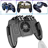 M11 New Upgrade Pubg Mobile Game Controller with Cooling Fan Compatiple for PUBG/Fotnite [6 Finger Operation] L1R1 Mobile Game Trigger Joystick for 4-