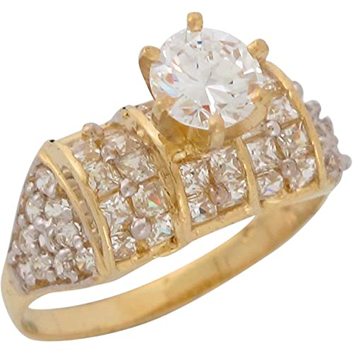 9ct Two Colour Gold White CZ Fancy Ladies Wedding Engagement Ring