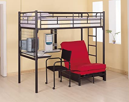 full size metal loft bed with futon 3