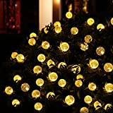 [21ft 30 Led] Solar Outdoor Globe Lights \ Outside String Lights Decoration, 8 Mode (Steady, Flash), Waterproof, Fairy Crystal Ball for Patio, Garden, Fence, Christmas Tree, Yard, Party (Warm White)
