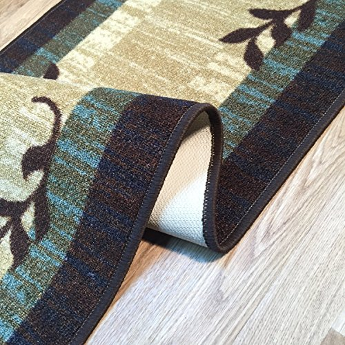 Anti-Bacterial Rubber Back RUGS RUNNERS Non-Skid/Slip 2x7 Runner Rug : Brown Floral Box Indoor ...
