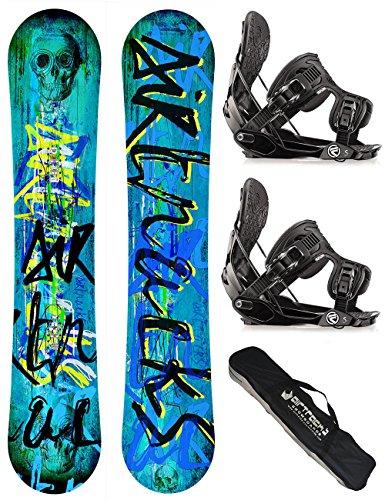 AIRTRACKS SNOWBOARD SET / SKULL SNOWBOARD WIDE ROCKER + SOFTBINDUNG FLOW FIVE + SB BAG / 150 153 158 / cm